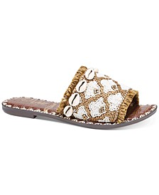 Women's Grey Beaded Shell Slide Sandals