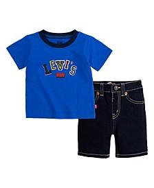 Baby Boys 2-Pc. Logo-Print T-Shirt & Denim Shorts Set