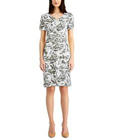 Printed Split-Neck Dress, Created for Macy's
