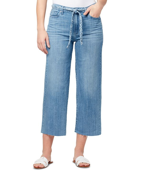 WILLIAM RAST Braided-Belt Wide-Leg Raw-Hem Jeans