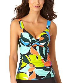 Printed Underwire Twist-Front Tankini Top
