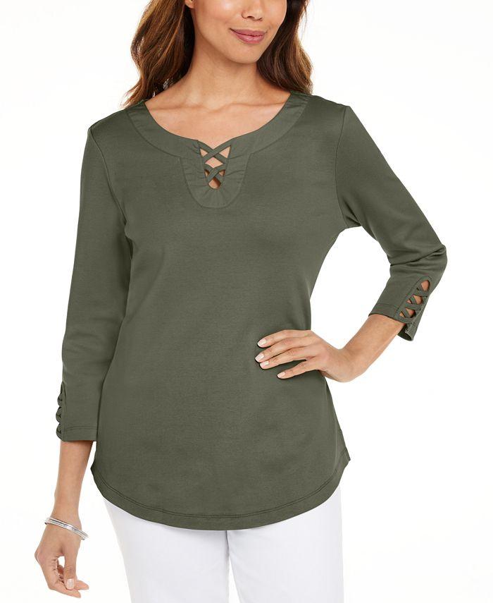 Karen Scott - Cotton Lace-Up T-Shirt