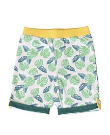 Toddler Boys Pull On Tropical Leaf Knit Shorts