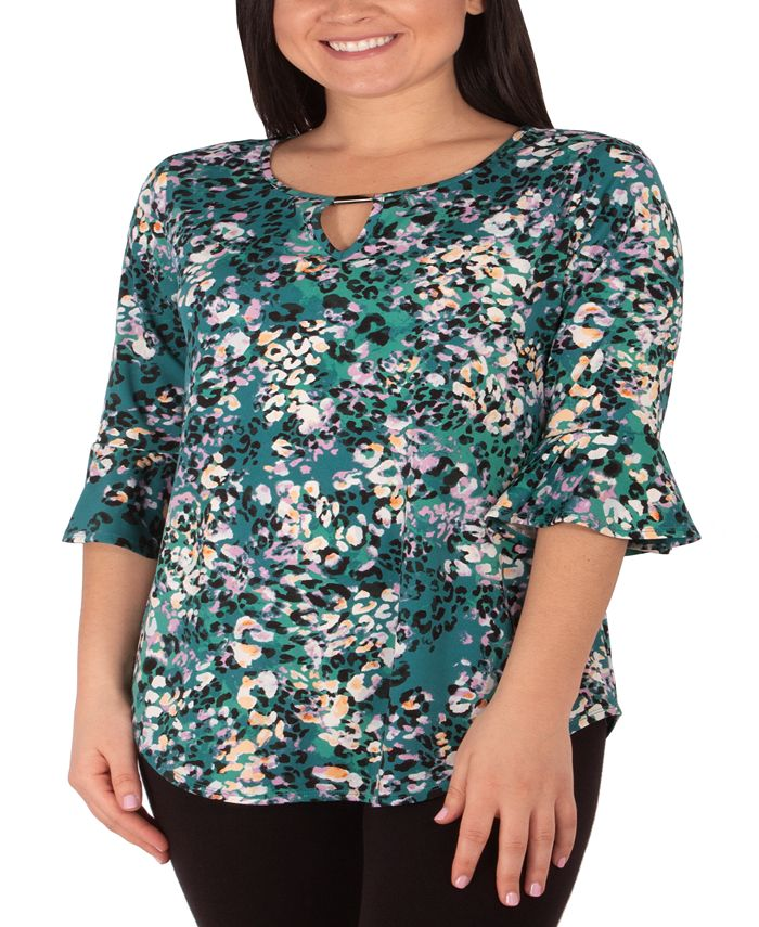 NY Collection - Plus Size Printed Keyhole-Neck Top