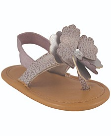 Baby Girls Crackle Thong Sandal with Flower Ornament