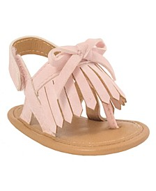 Baby Girls Distressed Thong Sandal with Fringe and Bow