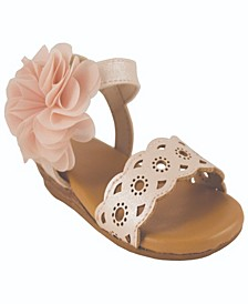 Baby Girls Sandal with Chop Out Designs, Chiffon Flower