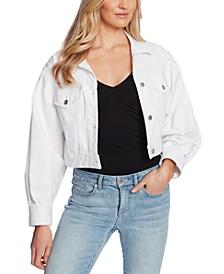 Puff-Sleeve Cropped Denim Jacket