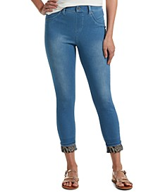 Women's Printed-Cuff Ultra Soft High-Waist Denim Leggings