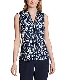 Sleeveless Tie-Front Blouse
