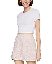 Cotton Eyelet Pull-On Shorts