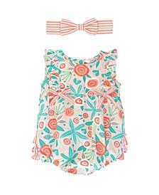 Infant Girls Seaside Floral Ruffle Romper and Stripe Headband Set