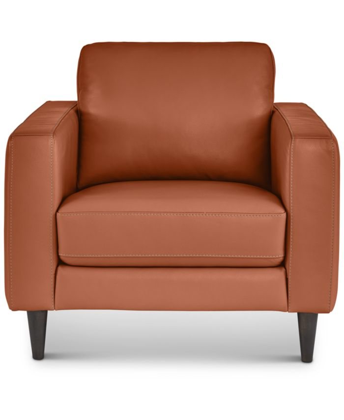 """Furniture Jennis 35"""" Leather Arm Chair, Created for Macy's & Reviews - Furniture - Macy's"""