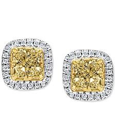 Diamond Halo Stud Earrings (1 ct. t.w.) in 14k Gold & White Gold