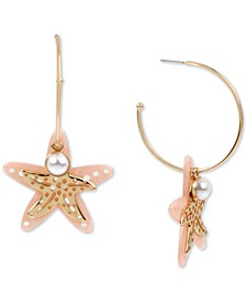 Gold-Tone Imitation Pearl & Starfish Charm Convertible Hoop Earrings
