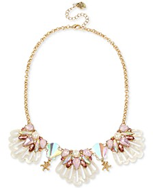 """Gold-Tone Crystal & Imitation Pearl Cluster Seashell Statement Necklace, 16"""" + 3"""" extender"""