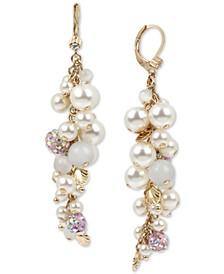 Gold-Tone Pavé-Fireball & Imitation Pearl Seashell Shaky Linear Drop Earrings