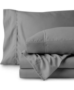 Bare Home Double Brushed Sheet Set, Split King Bedding In Gray