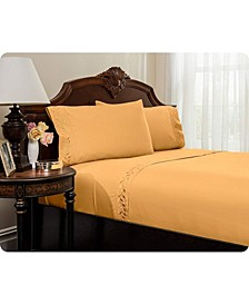 Embroidered Bed Sheets Set - Twin