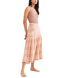 Free People Plaid Fever Midi Skirt