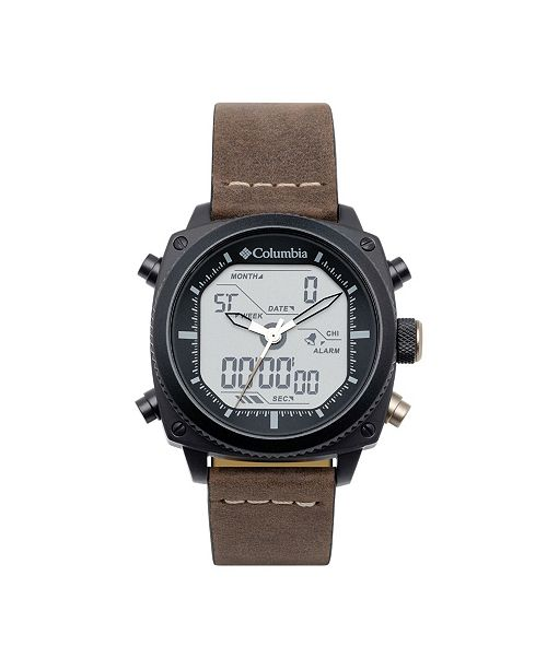 Columbia Men's Ridge Runner Brown Genuine Leather Analog-Digital Watch 45mm