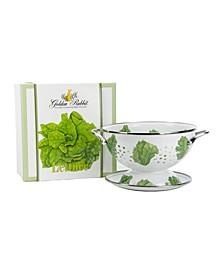 Lettuce Enamelware 2-Piece Giftboxed Colander
