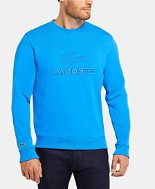 Men's Crew Neck Fleece Sweatshirt with Lacoste Lettering and Crocodile Graphic