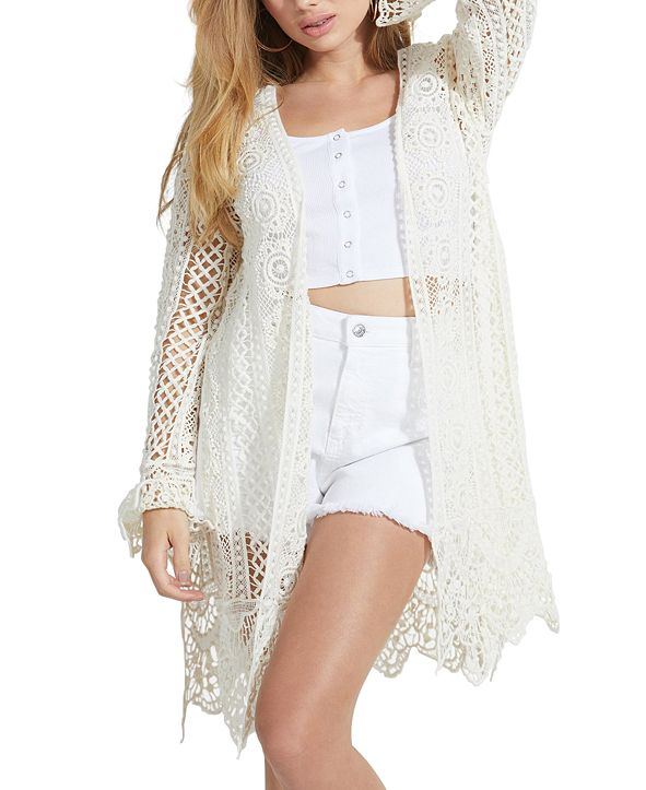 GUESS Lilja Crocheted Open-Front Cardigan