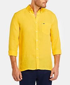 Men's Regular Fit Long Sleeve Linen Pocket Shirt