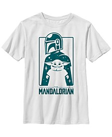 Star Wars The Mandalorian Big Boys The Child Simple Silhouette Short Sleeve T-shirt