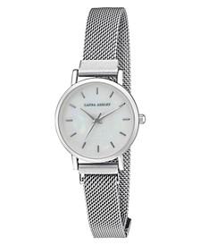 Women's Sleek Silver Tone Alloy Mesh Magnet Bracelet Watch 29mm