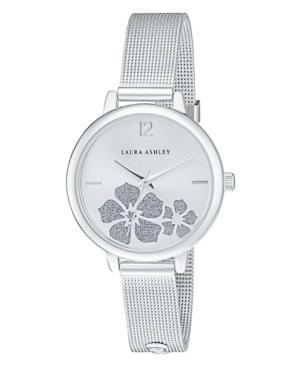 Women's Sunray Floral Stone Dial Silver Tone Alloy Bracelet Watch 34mm