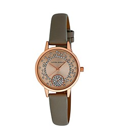 Women's Spray Crystal Dial Gray Polyurethane Strap Watch 32mm