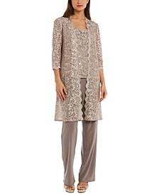 Petite 3-Pc. Sequined-Lace Jacket, Top & Pants