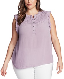 Trendy Plus Size Smocked-Yoke Top