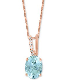 "LALI Jewels Aquamarine (1-1/16 ct. t.w.) & Diamond Accent 18"" Pendant Necklace in 14k Rose Gold"