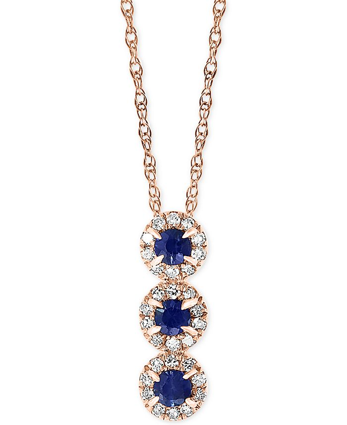 """LALI Jewels - Sapphire (1/6 ct. t.w.) & Diamond (1/10 ct. t.w.) 18"""" Pendant Necklace in 14k Rose Gold"""