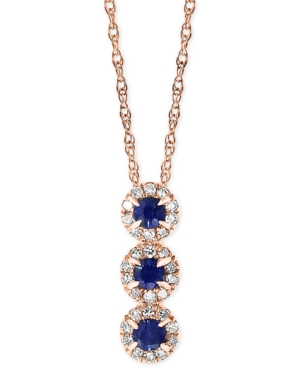 """Sapphire (1/6 ct. t.w.) & Diamond (1/10 ct. t.w.) 18"""" Pendant Necklace in 14k Rose Gold"""