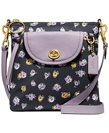 Vintage Rose Print Nylon Cargo Crossbody