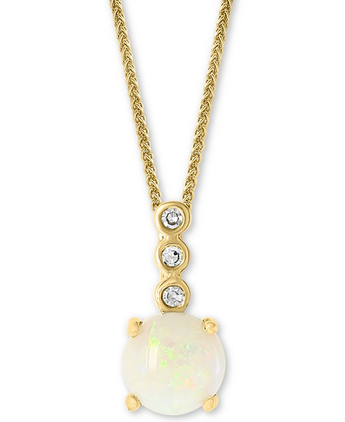 """LALI Jewels - Opal (1/2 ct. t.w.) & Diamond Accent 18"""" Pendant Necklace in 14k Gold"""