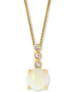 """Opal (1/2 ct. t.w.) & Diamond Accent 18"""" Pendant Necklace in 14k Gold"""