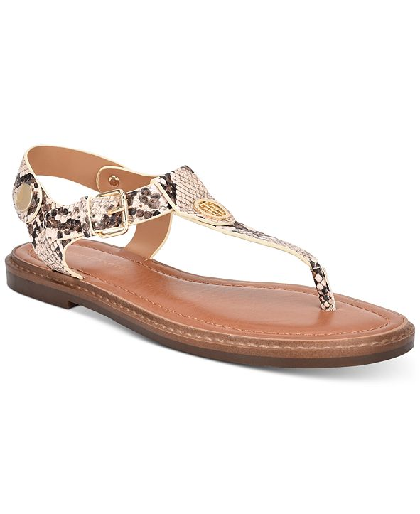 Tommy Hilfiger Bennia T-Strap Flat Sandals