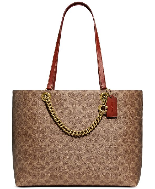COACH Coated Canvas Signature Chain Convertible Tote