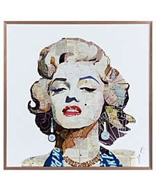 """Beautiful Marilyn on Reverse Printed Art Glass and Anodized Aluminum Frame Wall Art, 16"""" x 16"""" x 1"""""""
