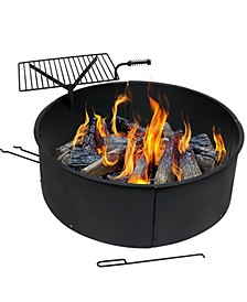 Large Fire Pit Campfire Ring with BBQ Cooking Grate Fire pit