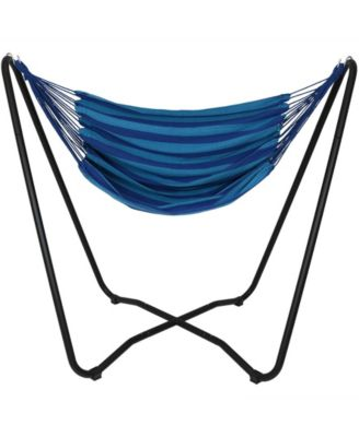 Sunnydaze Decor Hanging Rope Hammock Chair Swing with Space Saving Stand