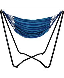 Hanging Rope Hammock Chair Swing with Space Saving Stand
