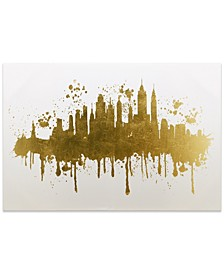 """NYC Skyline Gallery Wrap Gold Stamped Canvas , 30"""" x 45"""" x 1.5"""""""