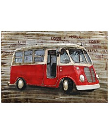"Red bus Mixed Media Iron Hand Painted Dimensional Wall Art, 32"" x 48"" x 2.4"""