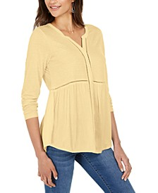 V-Neck Mixed Woven Top, Created for Macy's
